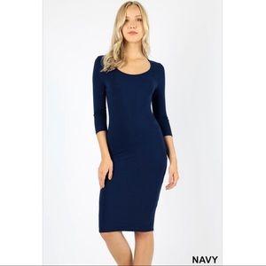 3/4 sleeve midi dress-Navy